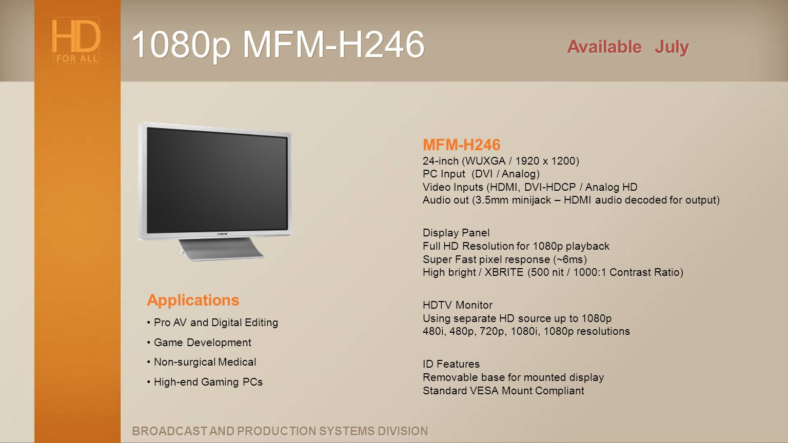 1080p MFM-H246 Available July.