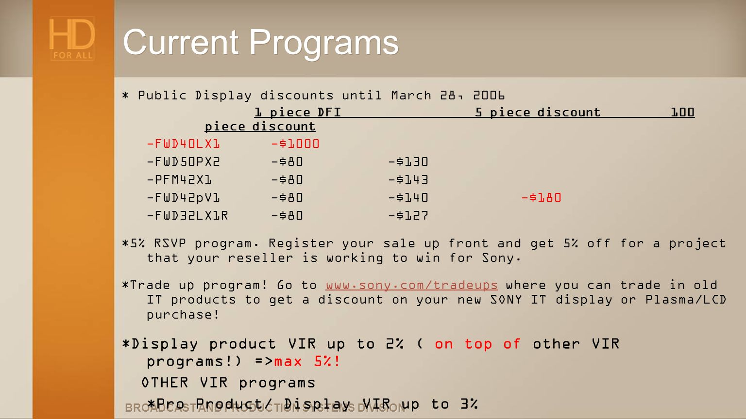 Current Programs * Public Display discounts until March 28, 2006. 1 piece DFI 5 piece discount 100 piece discount.