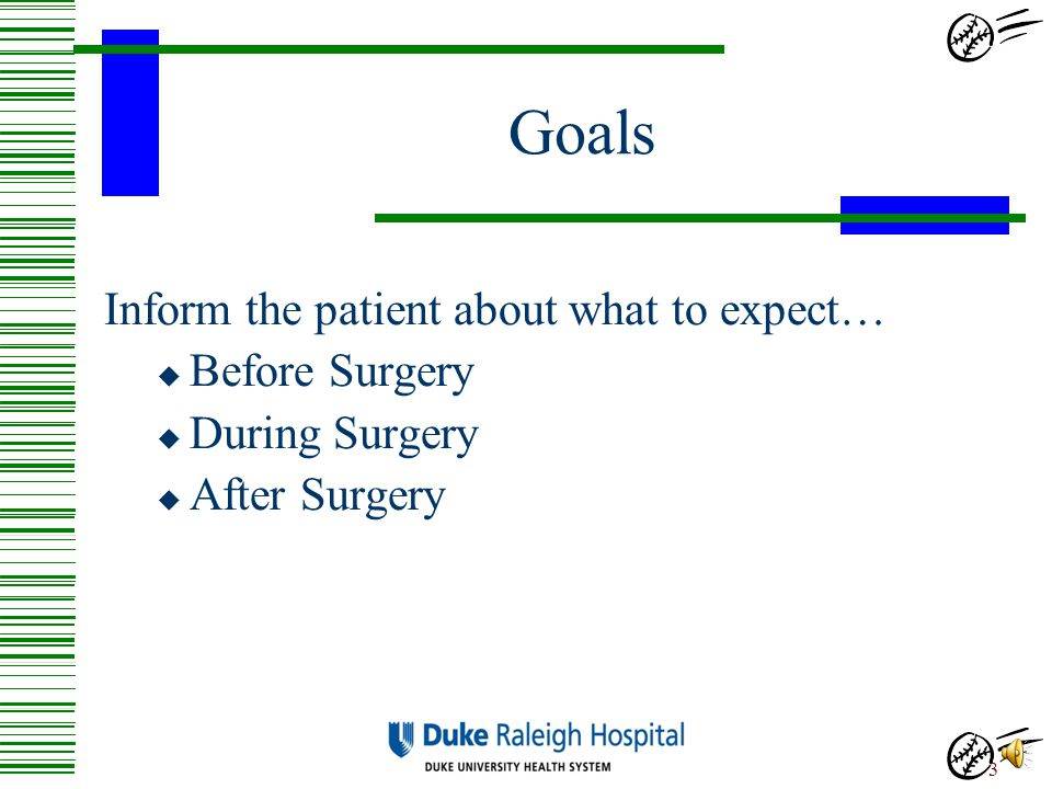Goals Inform the patient about what to expect… Before Surgery