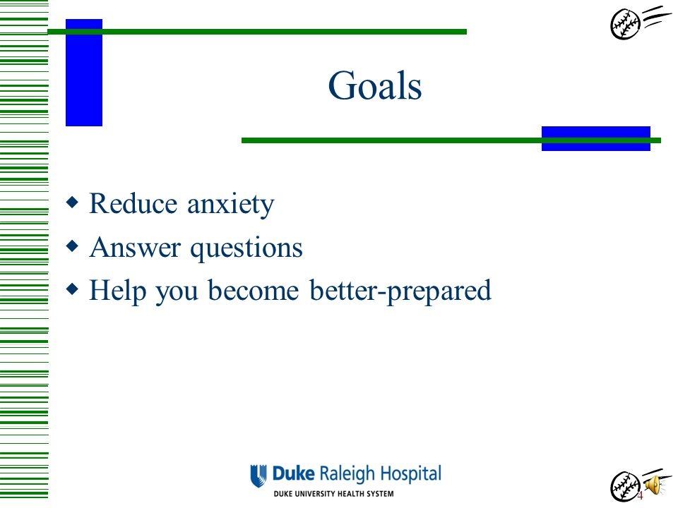 Goals Reduce anxiety Answer questions Help you become better-prepared