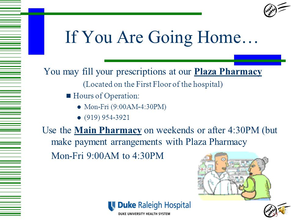 If You Are Going Home… You may fill your prescriptions at our Plaza Pharmacy. (Located on the First Floor of the hospital)