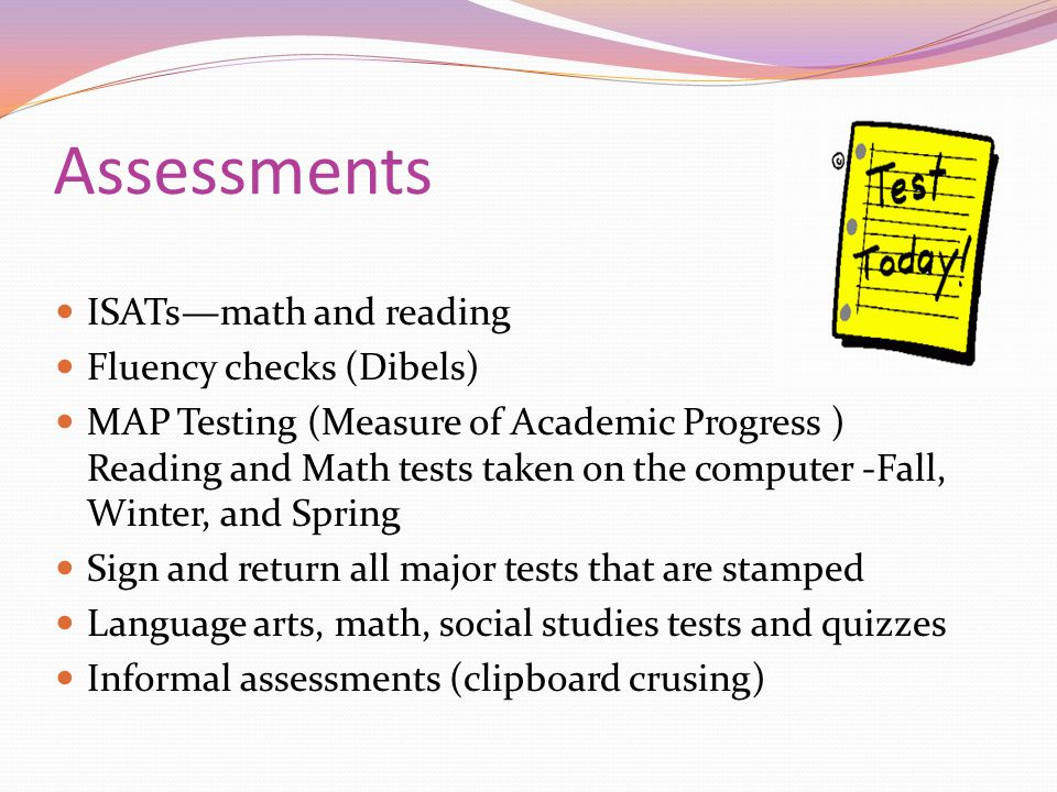 Assessments ISATs—math and reading Fluency checks (Dibels)
