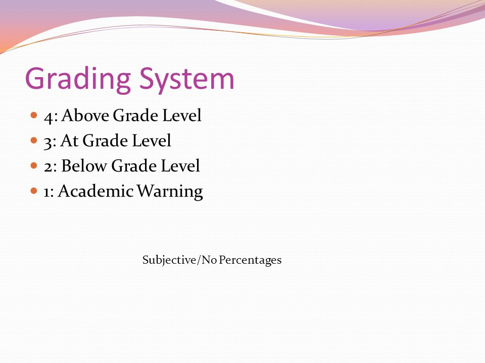 Grading System 4: Above Grade Level 3: At Grade Level