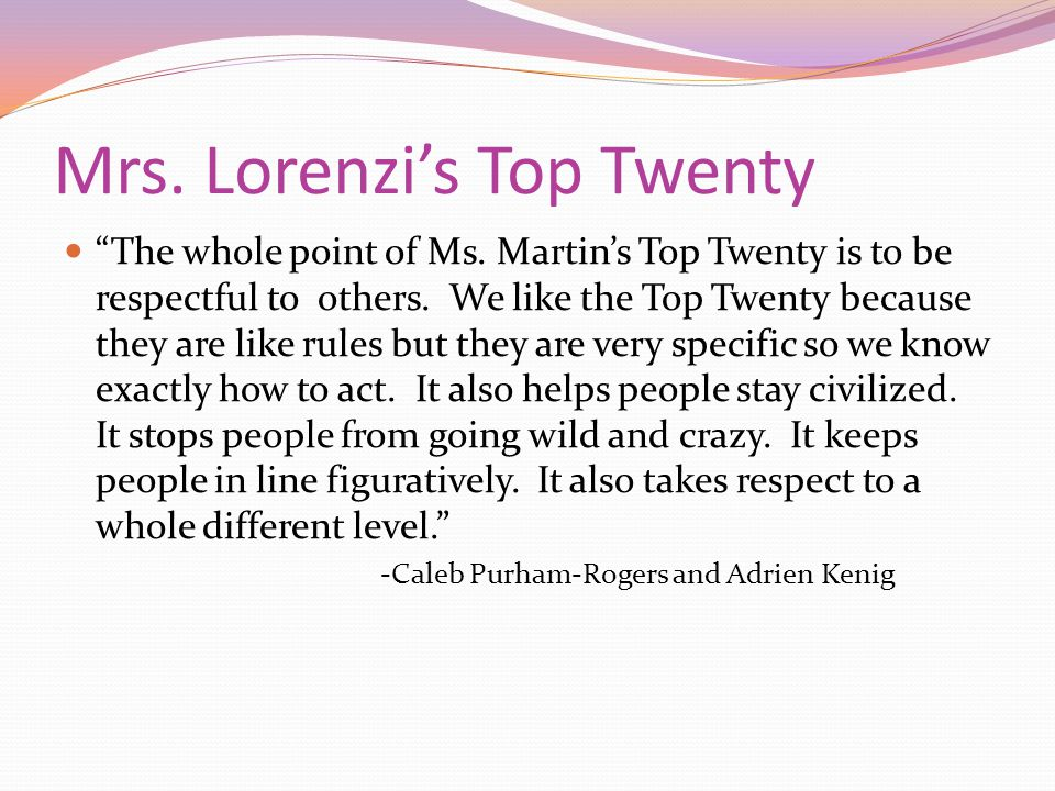 Mrs. Lorenzi's Top Twenty