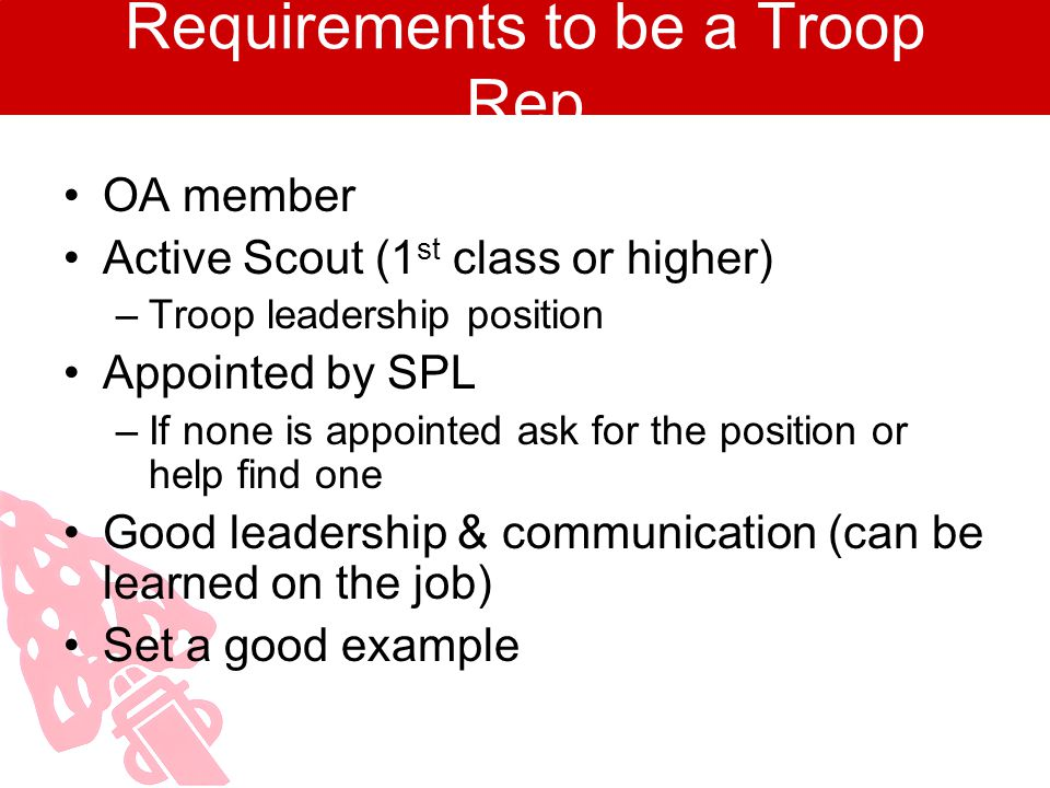 Requirements to be a Troop Rep