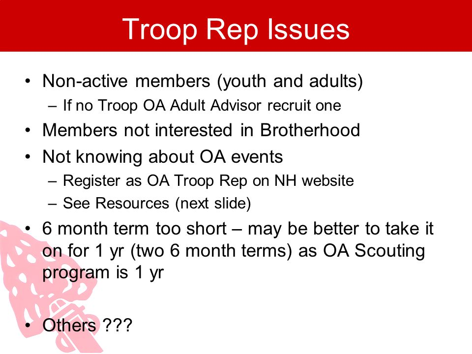 Troop Rep Issues Non-active members (youth and adults)
