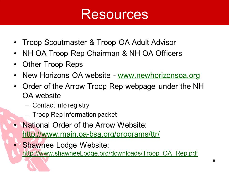 Resources Troop Scoutmaster & Troop OA Adult Advisor