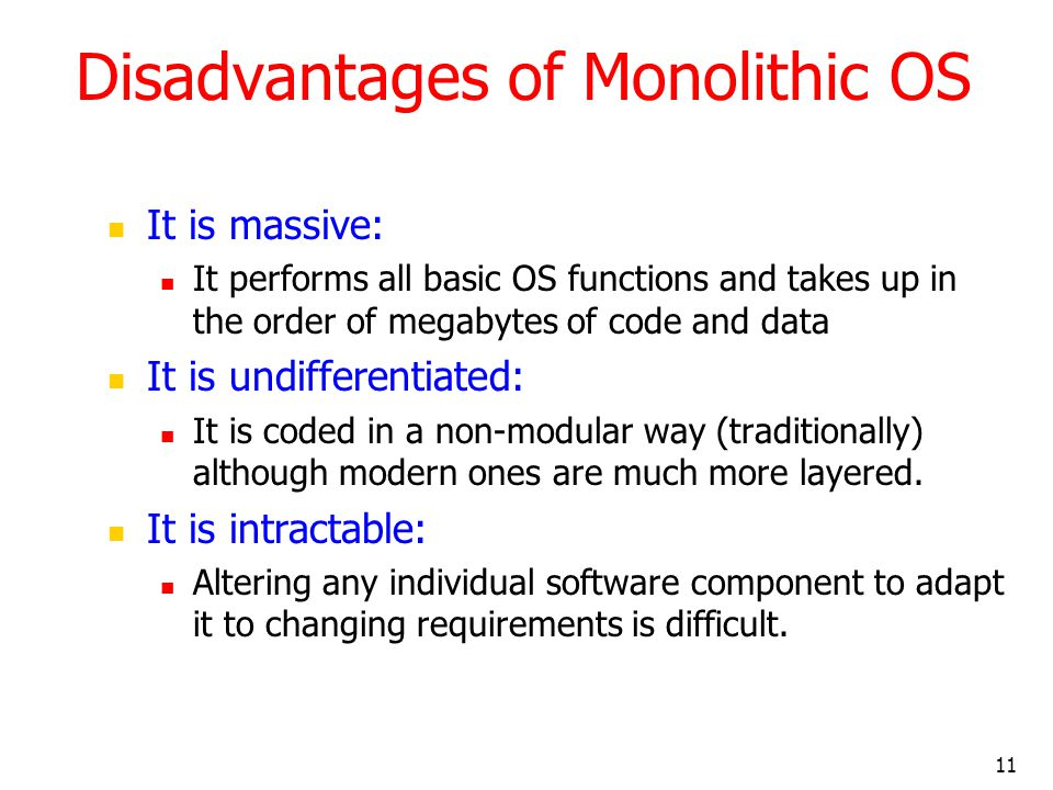 Disadvantages of Monolithic OS