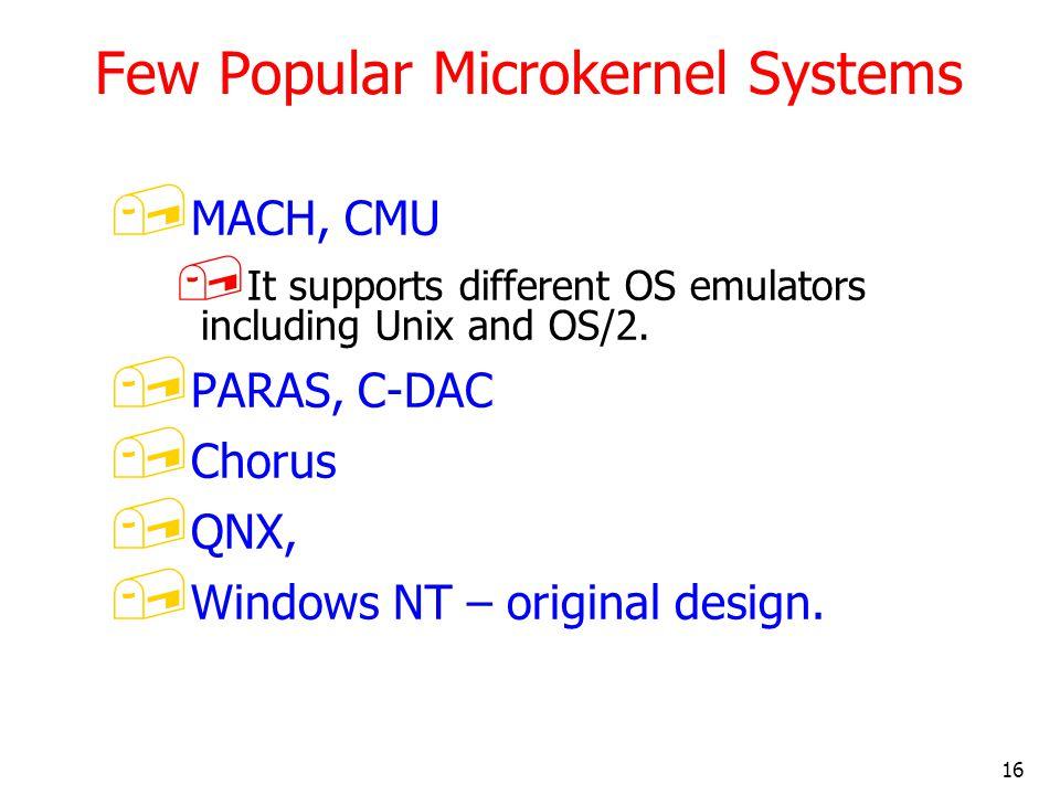 Few Popular Microkernel Systems