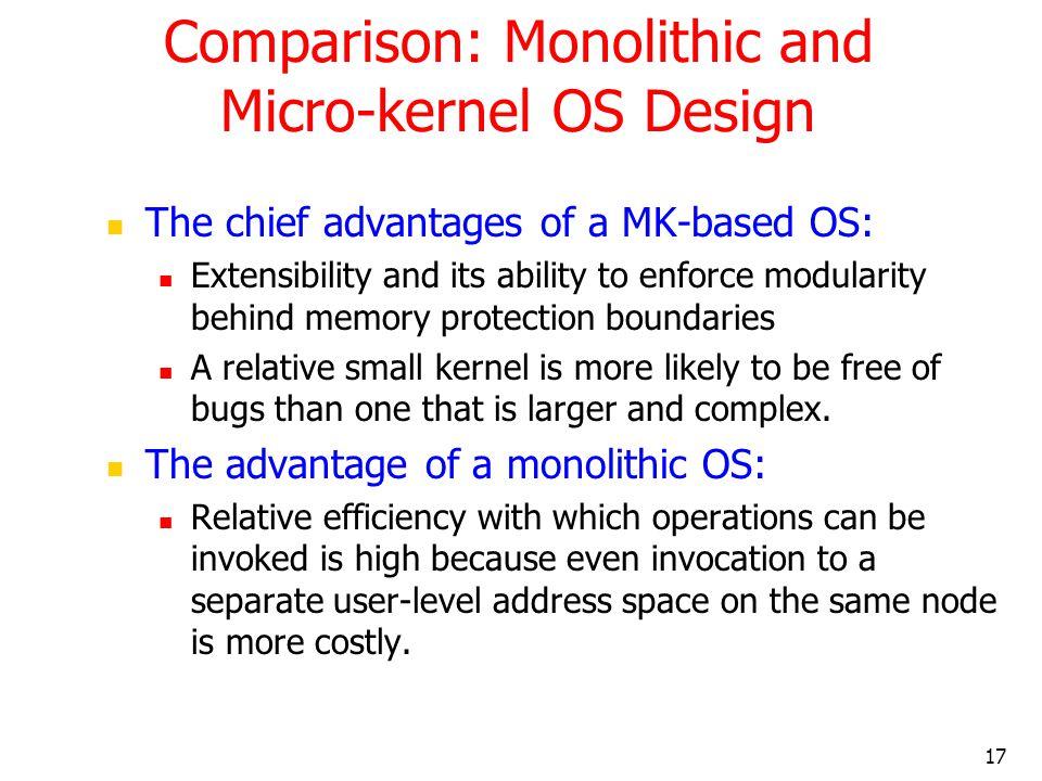 Comparison: Monolithic and Micro-kernel OS Design