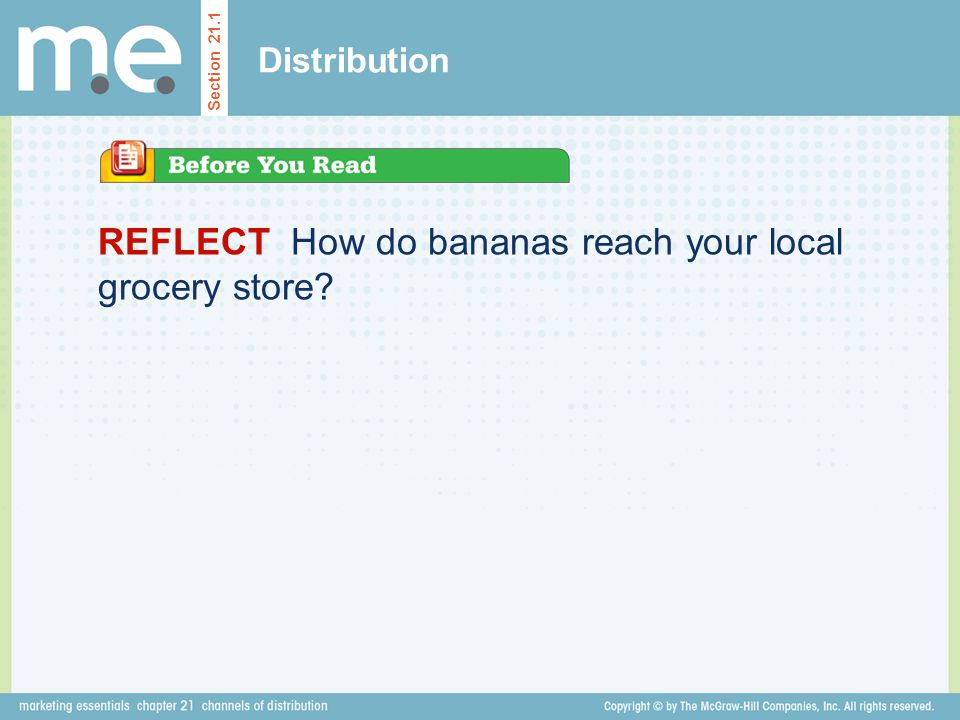 REFLECT How do bananas reach your local grocery store