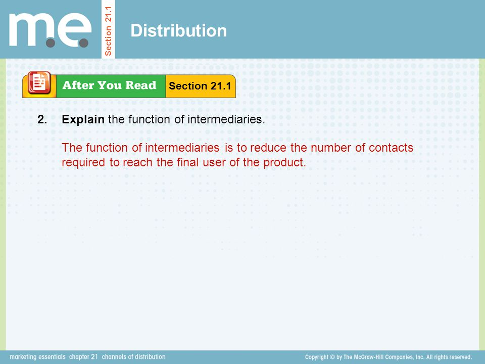 Distribution 2. Explain the function of intermediaries.
