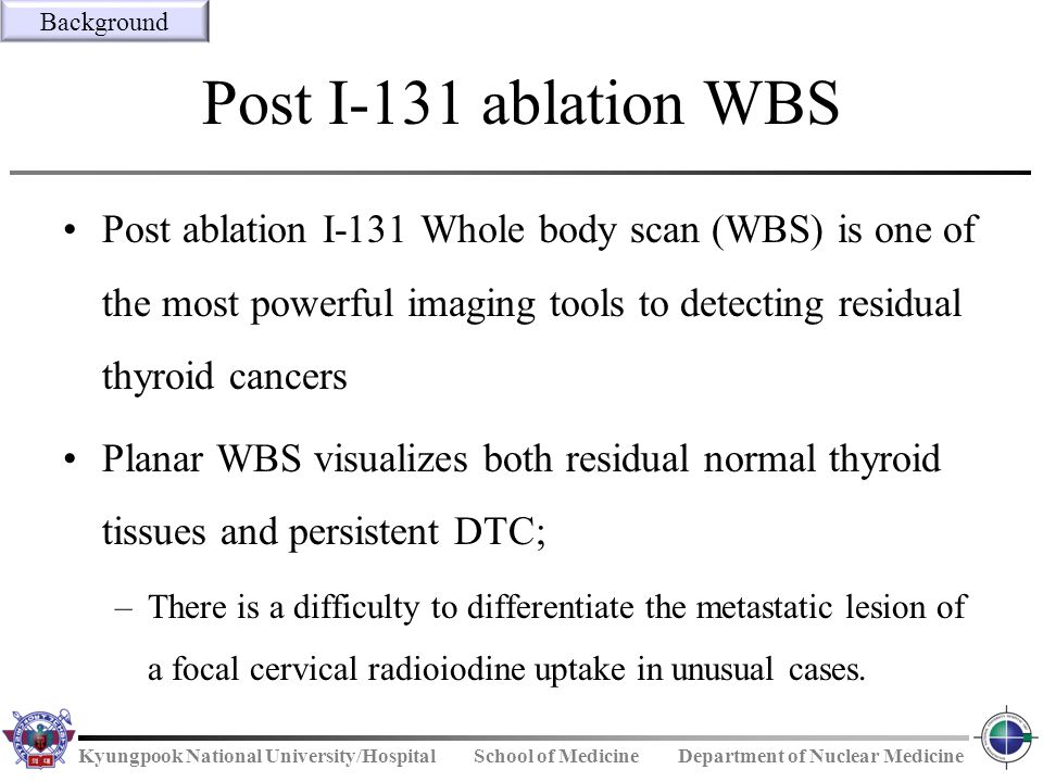 Background Post I-131 ablation WBS.