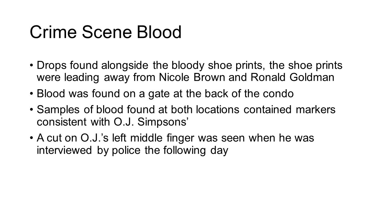 Crime Scene Blood Drops found alongside the bloody shoe prints, the shoe prints were leading away from Nicole Brown and Ronald Goldman.