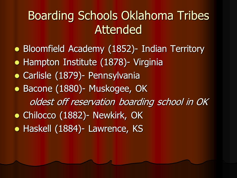 Boarding Schools Oklahoma Tribes Attended