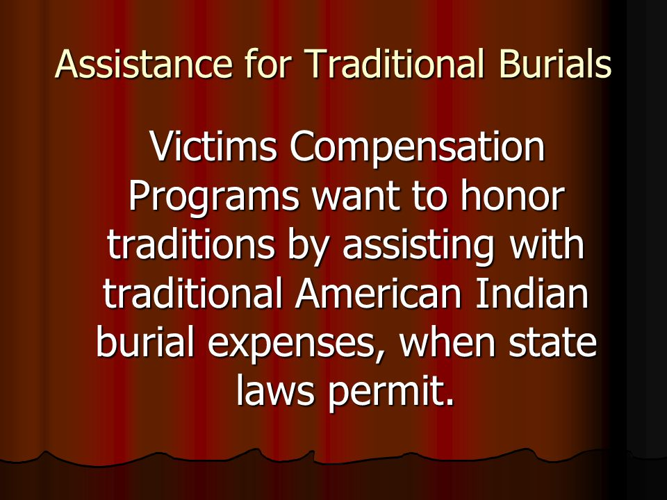 Assistance for Traditional Burials