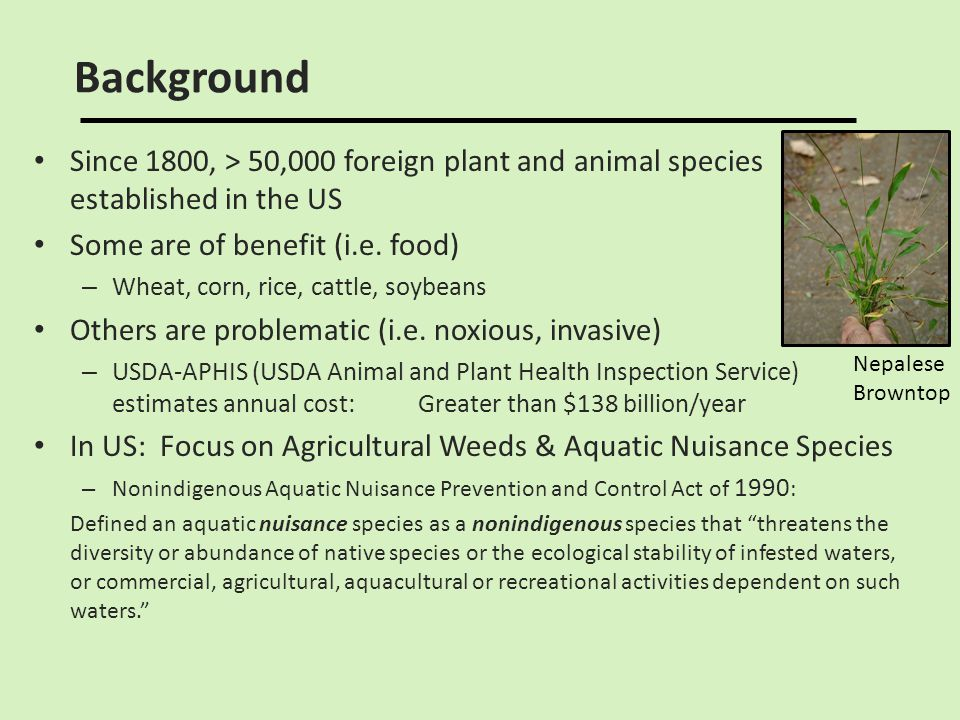 Background Since 1800, > 50,000 foreign plant and animal species established in the US. Some are of benefit (i.e. food)