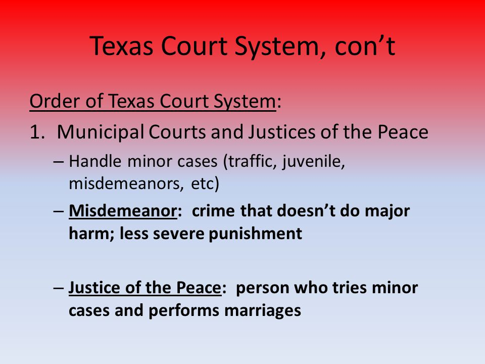 Texas Court System, con't