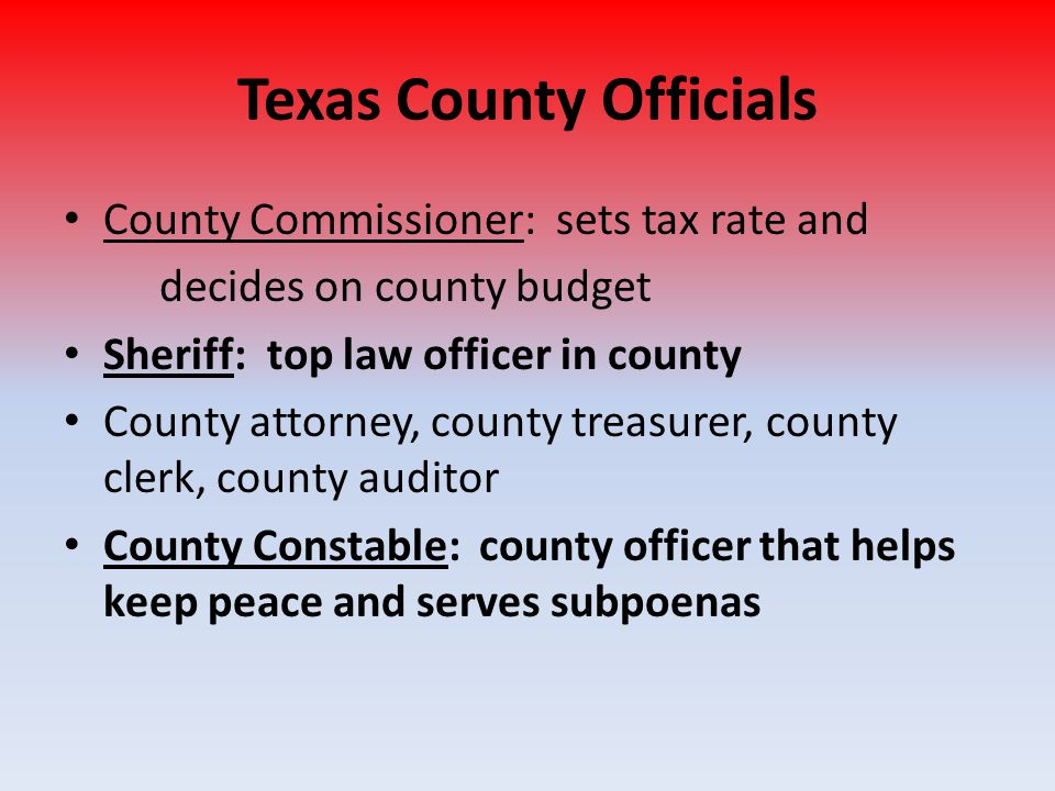 Texas County Officials