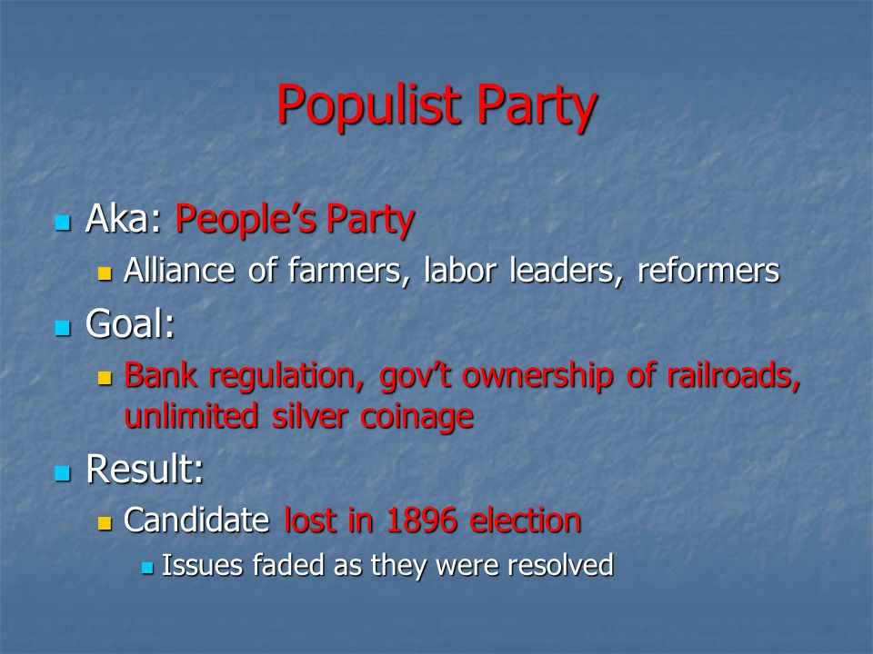 Populist Party Aka: People's Party Goal: Result: