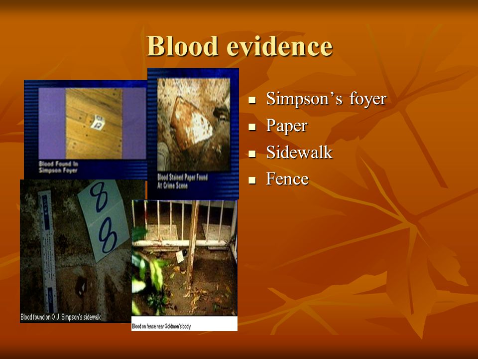 Blood evidence Simpson's foyer Paper Sidewalk Fence
