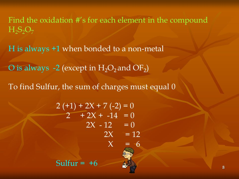 Find the oxidation #'s for each element in the compound H2S2O7