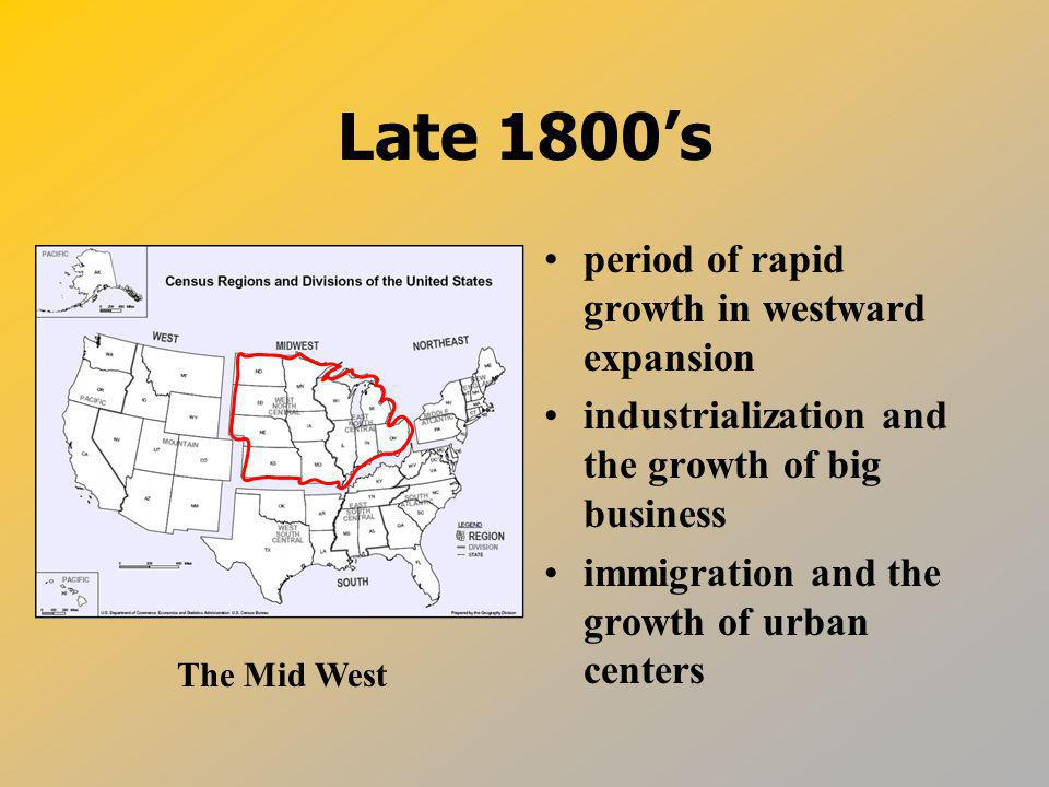 Late 1800's period of rapid growth in westward expansion
