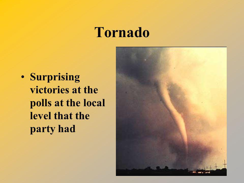 Tornado Surprising victories at the polls at the local level that the party had
