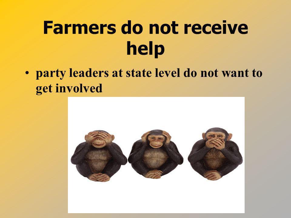 Farmers do not receive help