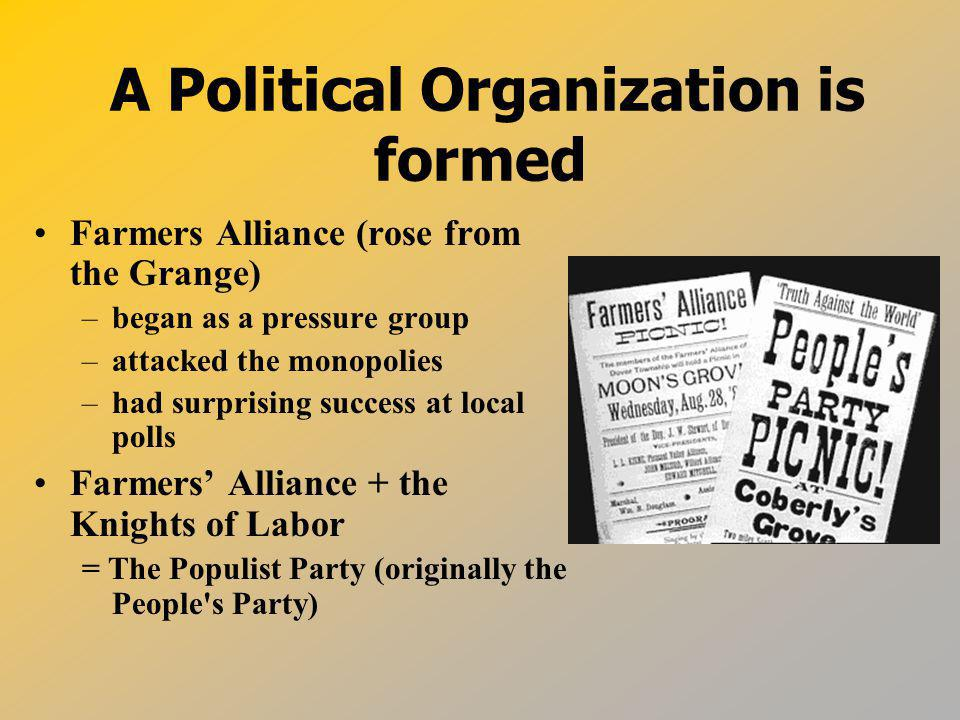 A Political Organization is formed