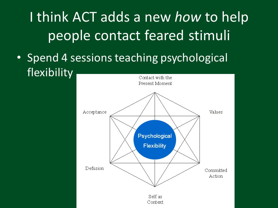 I think ACT adds a new how to help people contact feared stimuli