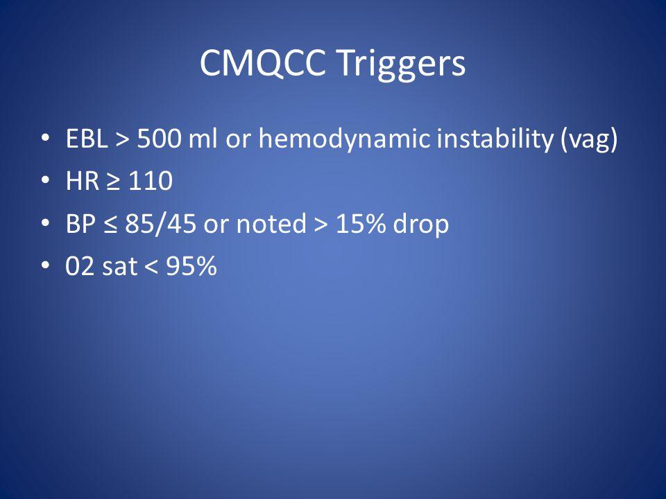 CMQCC Triggers EBL > 500 ml or hemodynamic instability (vag)