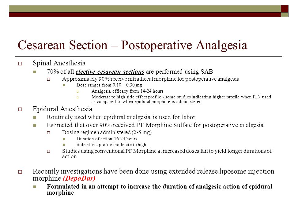 Cesarean Section – Postoperative Analgesia
