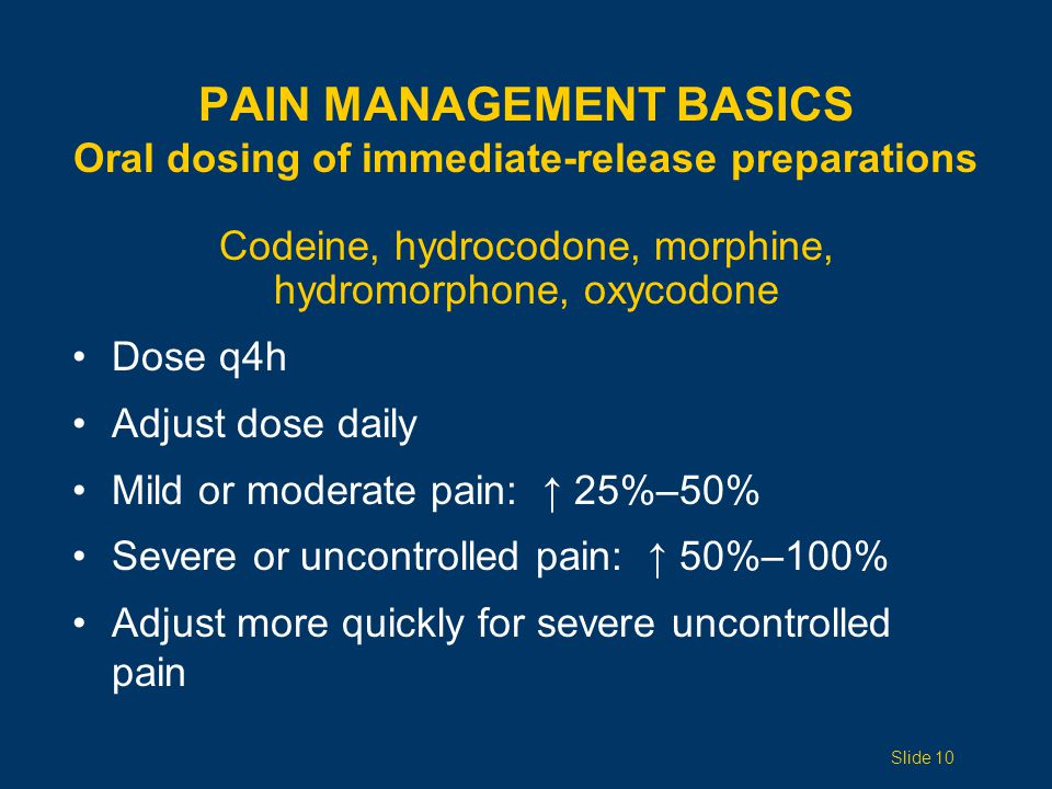 Pain Management Basics Oral dosing of immediate-release preparations