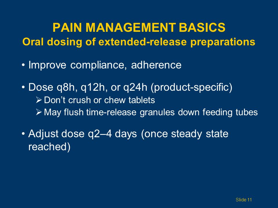 Pain Management Basics Oral dosing of extended-release preparations