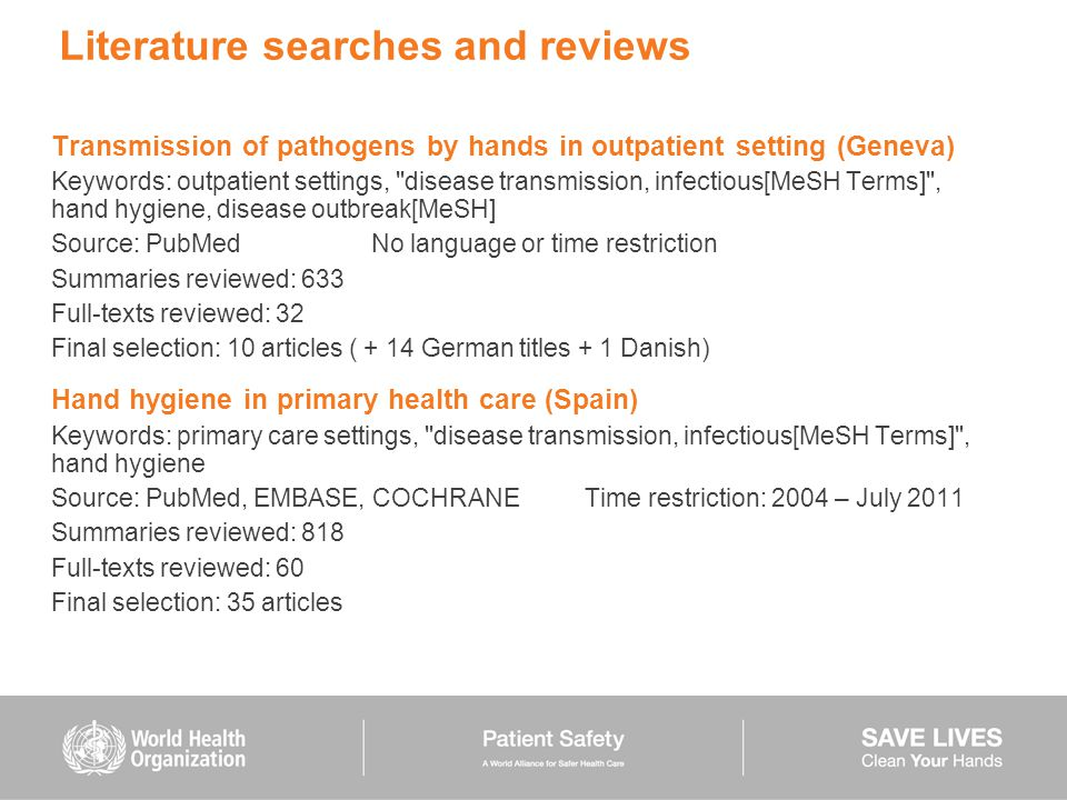 Literature searches and reviews