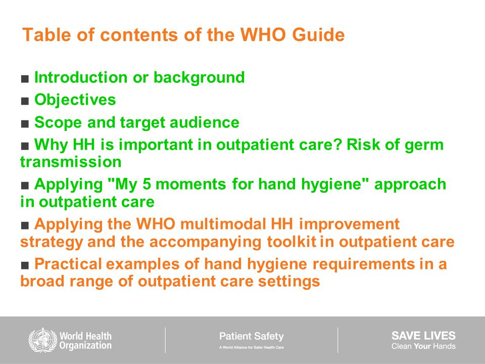 Table of contents of the WHO Guide