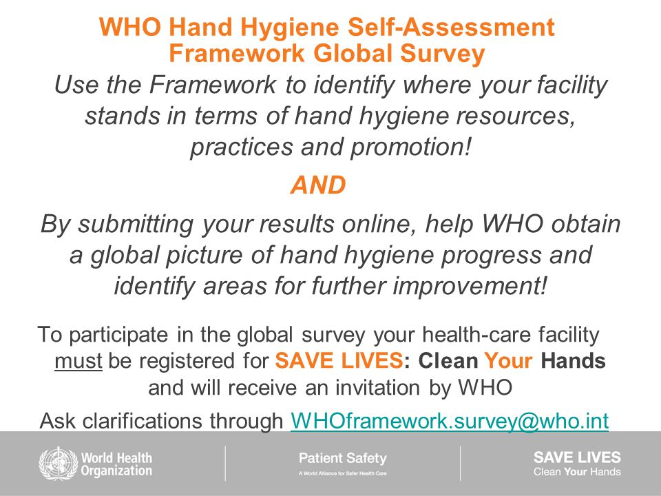 WHO Hand Hygiene Self-Assessment Framework Global Survey