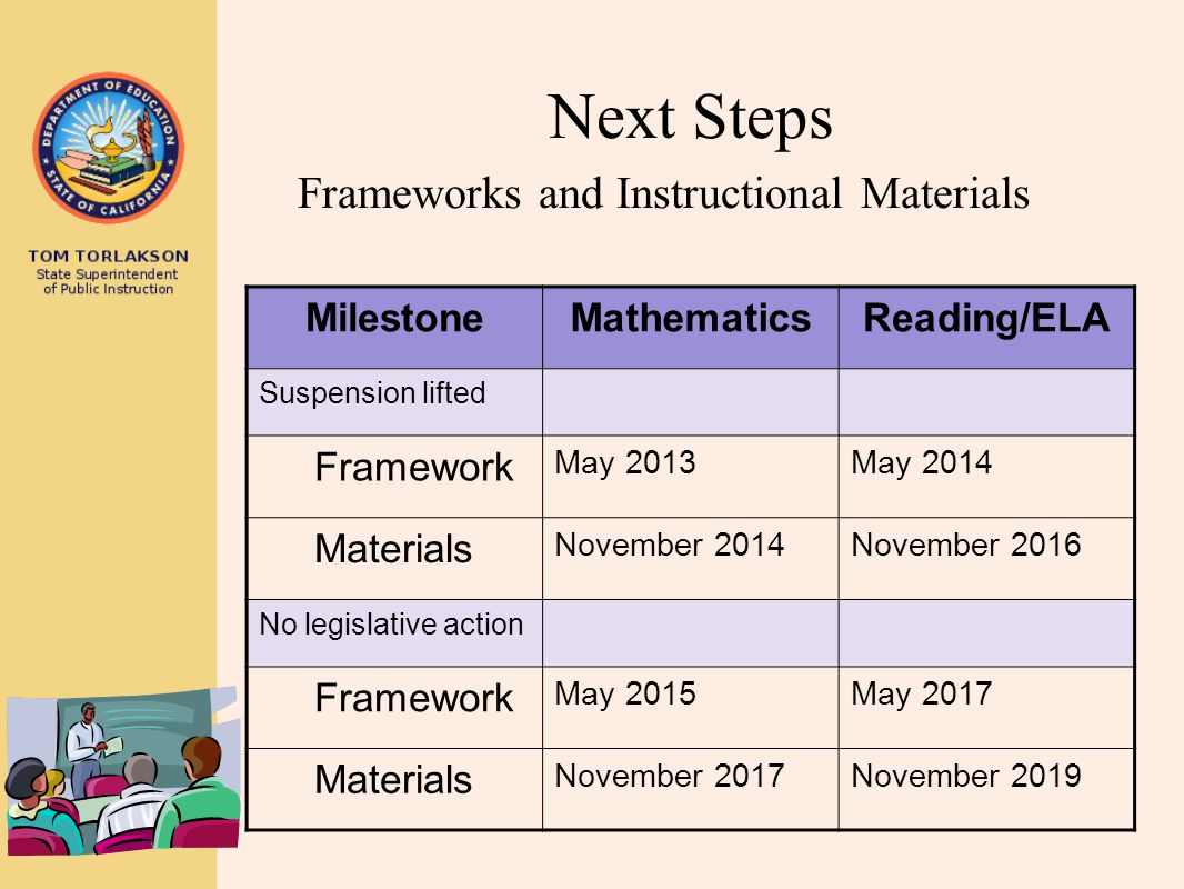 Next Steps Frameworks and Instructional Materials Milestone