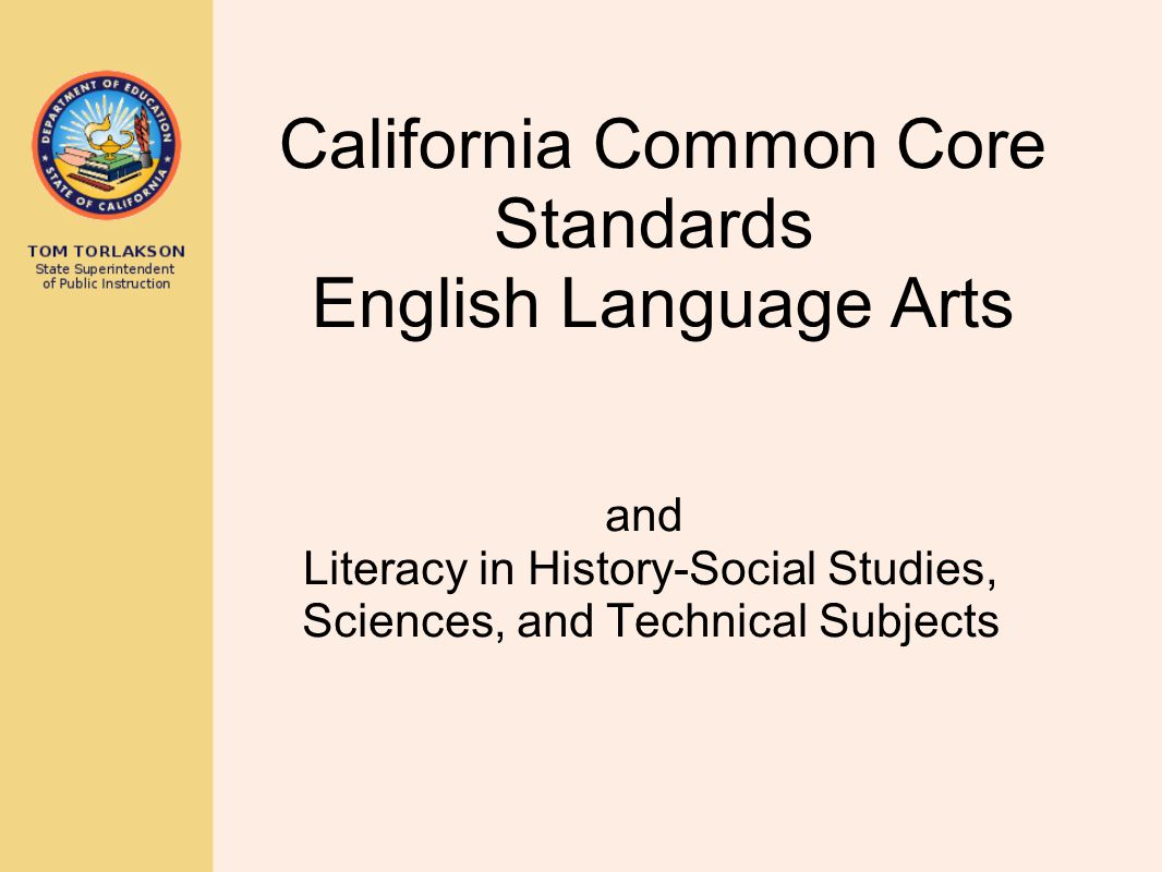 California Common Core Standards English Language Arts