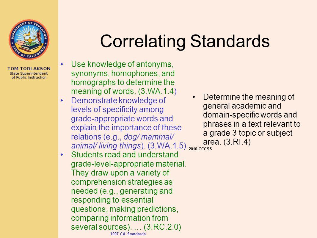 Correlating Standards