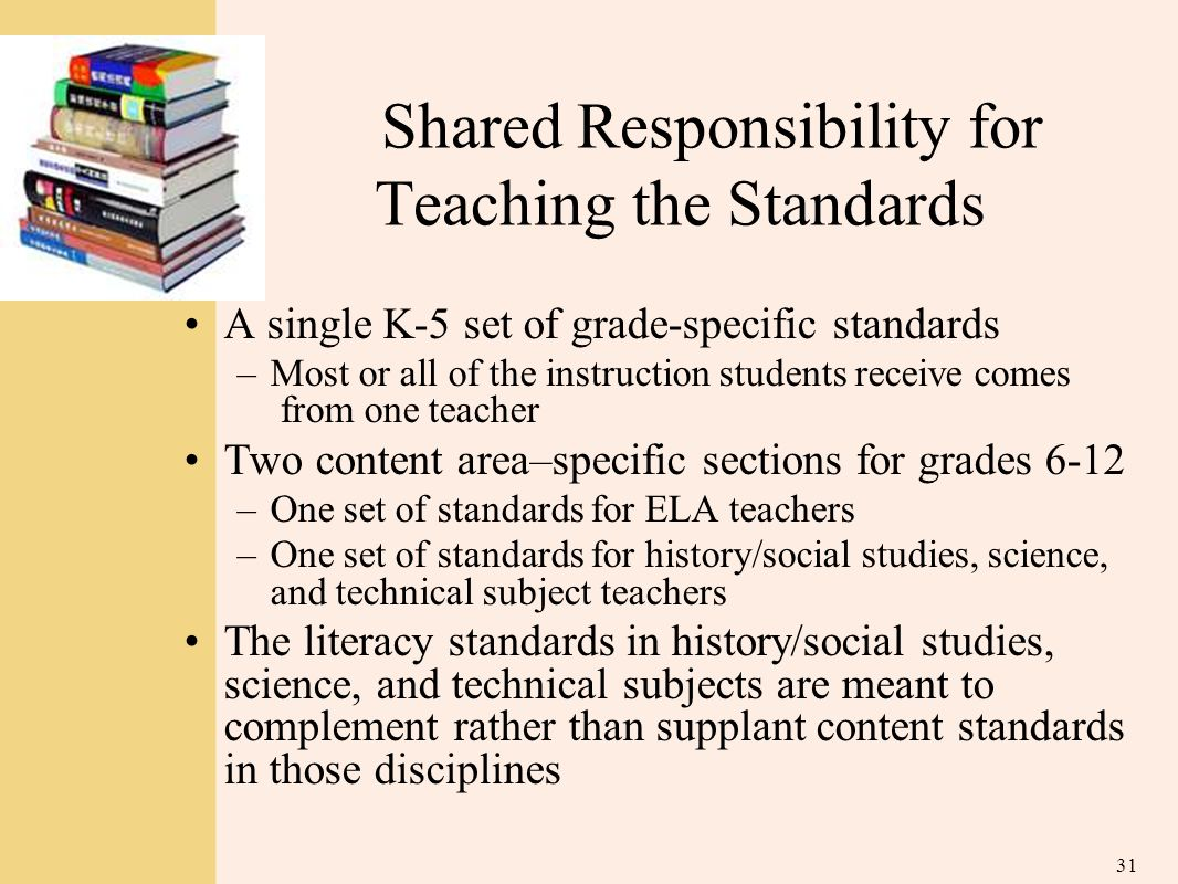 Shared Responsibility for Teaching the Standards