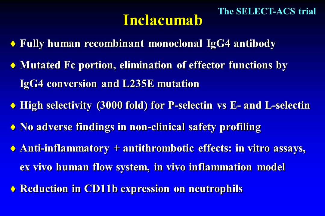 Inclacumab Fully human recombinant monoclonal IgG4 antibody