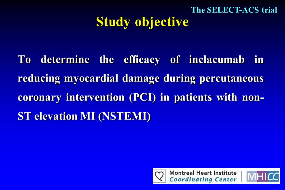 The SELECT-ACS trial Study objective.