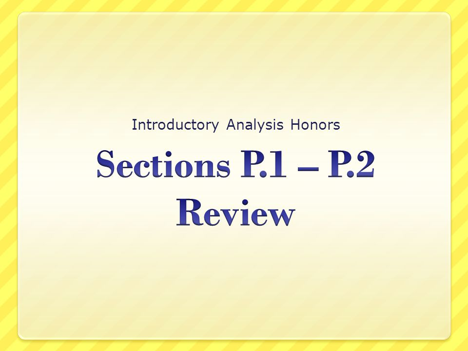 Introductory Analysis Honors