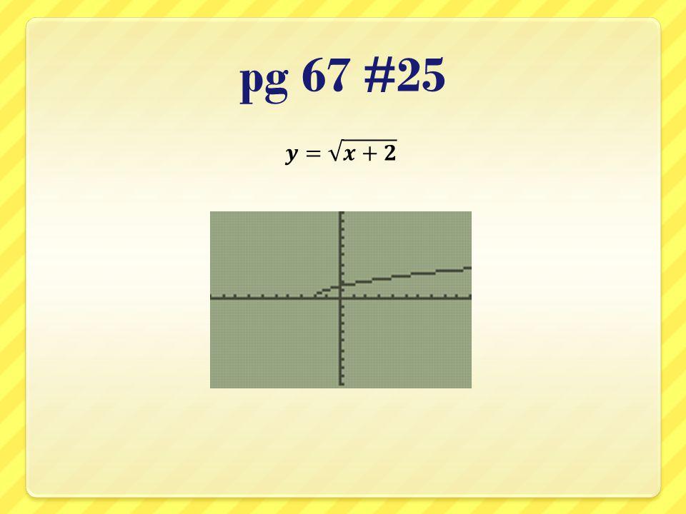 pg 67 #25 𝒚= 𝒙+𝟐