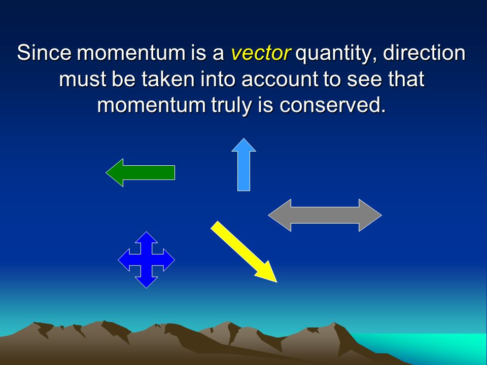 Since momentum is a vector quantity, direction must be taken into account to see that momentum truly is conserved.