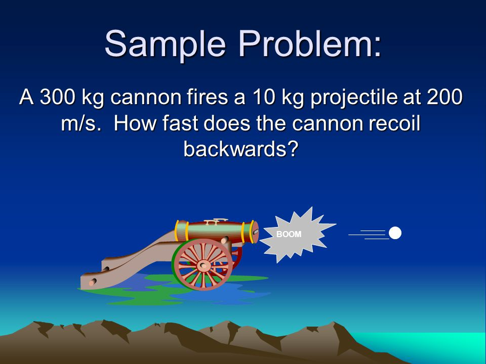 Sample Problem: A 300 kg cannon fires a 10 kg projectile at 200 m/s. How fast does the cannon recoil backwards