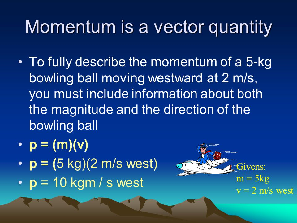 Momentum is a vector quantity