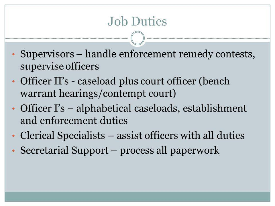 Job Duties Supervisors – handle enforcement remedy contests, supervise officers.